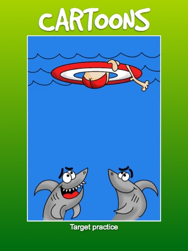 Juts outside the box cartoon of shark attack