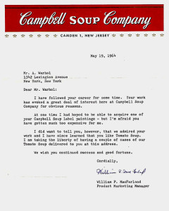 Campbell's note to Warhol
