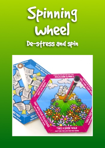 Give away spinning wheel for de-stress